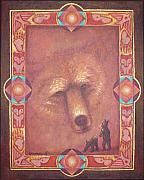 American Indian Paintings - Mother Bear by Kevin Chasing Wolf Hutchins