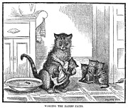 Caring Mother Prints - Mother Cat, 1880 Print by Granger