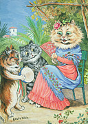 Fan Metal Prints - Mother cat with fan and two kittens Metal Print by Louis Wain