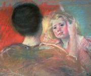 Impressionism Paintings - Mother combing Saras hair  by Mary Stevenson Cassatt