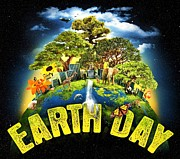 Planet Earth Drawings Posters - Mother Earth Poster by Pg Reproductions