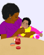 Mother And Child Drawings - Mother Feeding Her Baby by Pharris Art