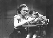 Rejection Posters - Mother Giving Glass Of Milk To Son (2-3) Sitting In High Chair, (b&w) Poster by George Marks