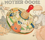 Antique Drawings Originals - Mother Goose Spinning Top by Glenda Zuckerman