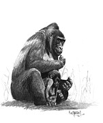 Love The Animal Drawings Prints - Mother Gorilla And The Baby Print by Eduardo Crowder