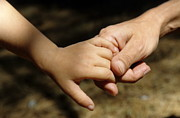 Bonding Metal Prints - Mother holding baby daughters hand Metal Print by Sami Sarkis