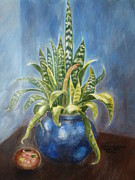 Potted Plant Paintings - Mother-in-laws Tongue by Lugenia Dixon