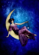 Photomanipulation Digital Art Prints - Mother in the Moon Print by Shasta Seagle