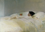 Bed Quilt Posters - Mother Poster by Joaquin Sorolla y Bastida