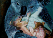 Koala Paintings - Mother Koala With Twins by Chris Degenhardt