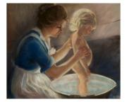 Babe Pastels Posters - Mother Love-the Bath Poster by Pamela Mccabe