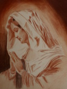 Religious Art Pastels Prints - Mother Mary Print by Mike Hinojosa