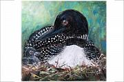 Nest Pastels Posters - Mother Nature and the Loon Poster by Jane Kleinschmidt