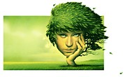 Leaves In Hair Posters - Mother Nature, Conceptual Artwork Poster by Smetek