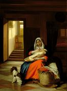 Breastfeeding Paintings - Mother Nursing Her Child by  Pieter de Hooch