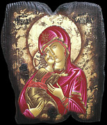 Byzantine Mixed Media - Mother of God by Iosif Ioan Chezan