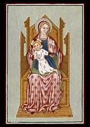 Egg Tempera Paintings - Mother of God on the throne - CARD by Raffaella Lunelli