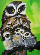 Owl Greeting Card Prints - Mother Owl Print by Una  Miller