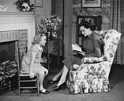 Pattern Book Prints - Mother Reading To Daughter (6-7) In Living Room, (b&w) Print by George Marks