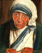 Portrait Of Mother Theresa Framed Prints - Mother Teresa  Framed Print by Carole Spandau