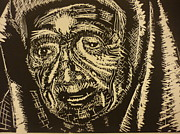 Portrait Woodblock Reliefs - Mother Teresa by Casey Park