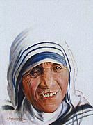 Mother Teresa Paintings - Mother Teresa by John Lautermilch
