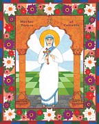 Religious Art Mixed Media Prints - Mother Teresa of Calcutta Icon Print by David Raber