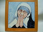 Portrait Ceramics Originals - Mother Teresa of Calcutta by Maria Rosaria Dalessandro