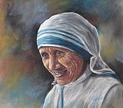 Mother Pastels Posters - Mother Teresa Poster by Sam Pearson