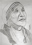 Praying Drawings Originals - Mother Teresa by SP Singh