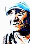 Blue Flowers Paintings - Mother Teresa by Steven Ponsford