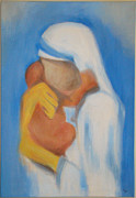 Mother Teresa Paintings - Mother Teresa with Child by Chetna  Pandya