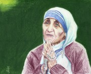 Mother Teresa Framed Prints - Mother Teresa Framed Print by Yoshiko Mishina
