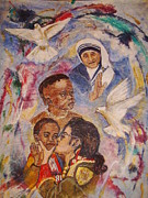 Mother Theresa And Michael Jackson For The Lost Children Print by Jocelyne Beatrice Ruchonnet