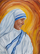 Mother Teresa Paintings - Mother Theresa- Meditation by Louis Jakub