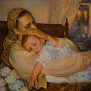 Bedtime Paintings - Mother with child by Elena Kokin
