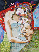 Motherhood Posters - Motherhood - Tribute to Klimt Poster by Guri Stark