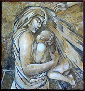 Egg Tempera Prints - Motherhood 2 Print by Mary jane Miller
