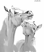 Horse Drawing Posters - Motherhood Poster by Angel  Tarantella