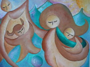 Family Love Paintings - Motherhood family oil painting Us today original by Gioia Albano by Gioia Albano