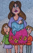 Caricature Drawings - Motherhood by Gerri Rowan