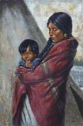 Native American Woman Framed Prints - Motherhood Framed Print by Harvie Brown
