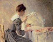 Watching Painting Prints - Motherhood Print by Louis Emile Adan