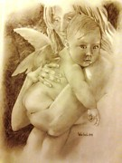 Angelic Drawings - Motherhood one by Luis  Leon