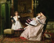 Daughters Painting Framed Prints - Motherly Love Framed Print by Gustave Leonard de Jonghe