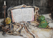 Pencil Drawing Pastels Posters - Mothers Bible Poster by Becky Kim