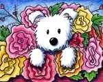 White Terrier Art - Mothers Day Bouquet by Kim Niles