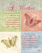 Cream Prints - Mothers Day Butterfly card Print by Debbie DeWitt