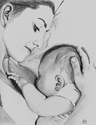 Feeding Drawings Posters - Mothers Love Poster by Gil Fong