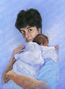 Family Love Paintings - Mothers Love by Heidi Rissmiller